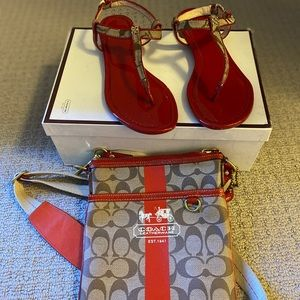 Authentic coach Sandals and a bag . Women size 6